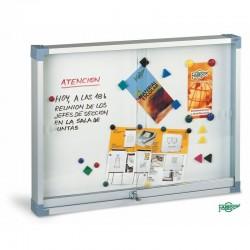 VITRINA ANUNCIS BLANCA INTERIOR / EXTERIOR. MARC ALUMINI METACRILAT 800 X 1000 CM