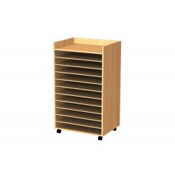 MOBLE CARTOLINA FUSTA FAIG 10 SEPARACIONS. TANCAT 3 COSTATS. 122 X 72 X 57 CM