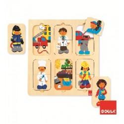 PUZZLE PROFESSIONS. 12 PECES DE FUSTA 28 X 28 X 0,7 CM. JOGUINA A PARTIR DE 2 ANYS