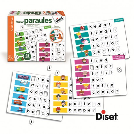 FORMAR PARAULES. 12 LÀMINES I 72 PARAULES. CATALÀ. JOGUINA A PARTIR DE 5 ANYS