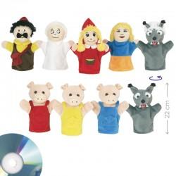 TITELLES LA CAPUTXETA VERMELLA I ELS TRES PORQUETS. 8 UNITATS I CD. JOGUINA A PARTIR DE 3 ANYS