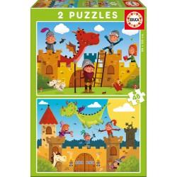 PUZZLE DRACS I CAVALLERS. 2 PUZZLES DE 48 PECES 28 X 20 CM. JOGUINA A PARTIR DE 3 ANYS