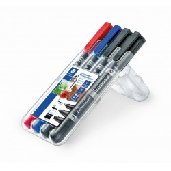 ESTOIG RETOLADORS STAEDTLER DUO 348. PUNTES M, F. 4 COLORS ASSORTITS